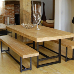 modern rustic dining room table Traditional Compact -
